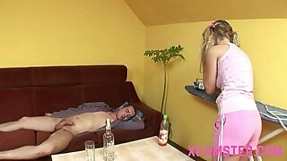 Skinny young hot blonde amateur takes a cock in her tight pussy - duration 28:01