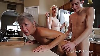 Girl gets pounded in uniform yoga chair after threesome - duration 22:37