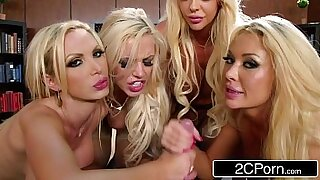 Wanking blonde in office gangbang - duration 8:06