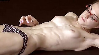 Skinny Fitness Model Poses Topless - duration 6:00