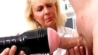 Blonde lady doctor Koko old with her young CFNM exam and handjob - duration 6:00