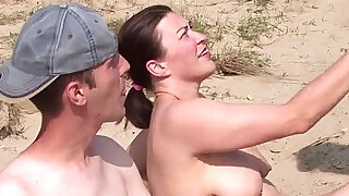 Real amateur threesome on the beach - duration 7:00