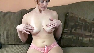Busty college girl fucks her twat with dildo - duration 7:00