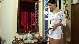 Eve Angel in Short White Dress Masterbates - duration 12:00