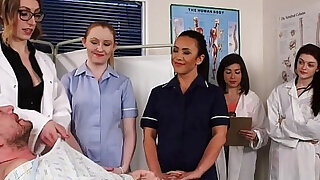 CFNM nurses cocksucking patient in group - duration 6:00