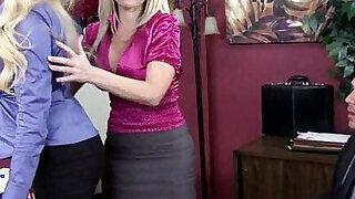 Big boobs bosses Alena Croft and Summer Brielle threesome - duration 5:00