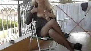 Italian milf on the balcony - duration 33:09