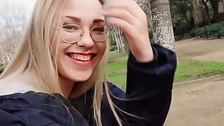 Blonde reading in the public park - duration 7:00