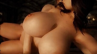3D animated babe with huge round tits a great blowjob and rides huge hard dick - duration 25:00