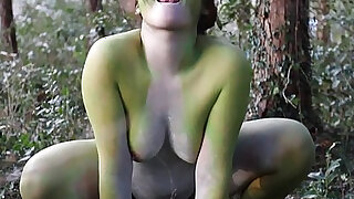Stark naked Japanese fat frog lady in the swamp HD - duration 3:00