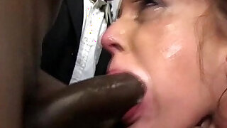 Poor girl sucks members of the crowd of blacks and swallow thewallow their sperm - duration 6:00